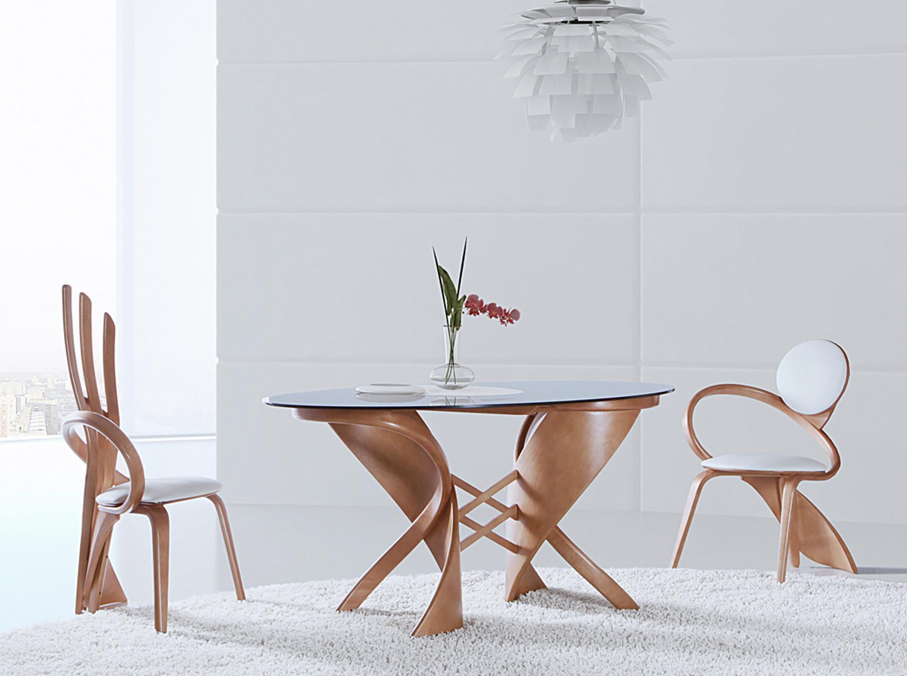 обеденные столы стеклянные овальные