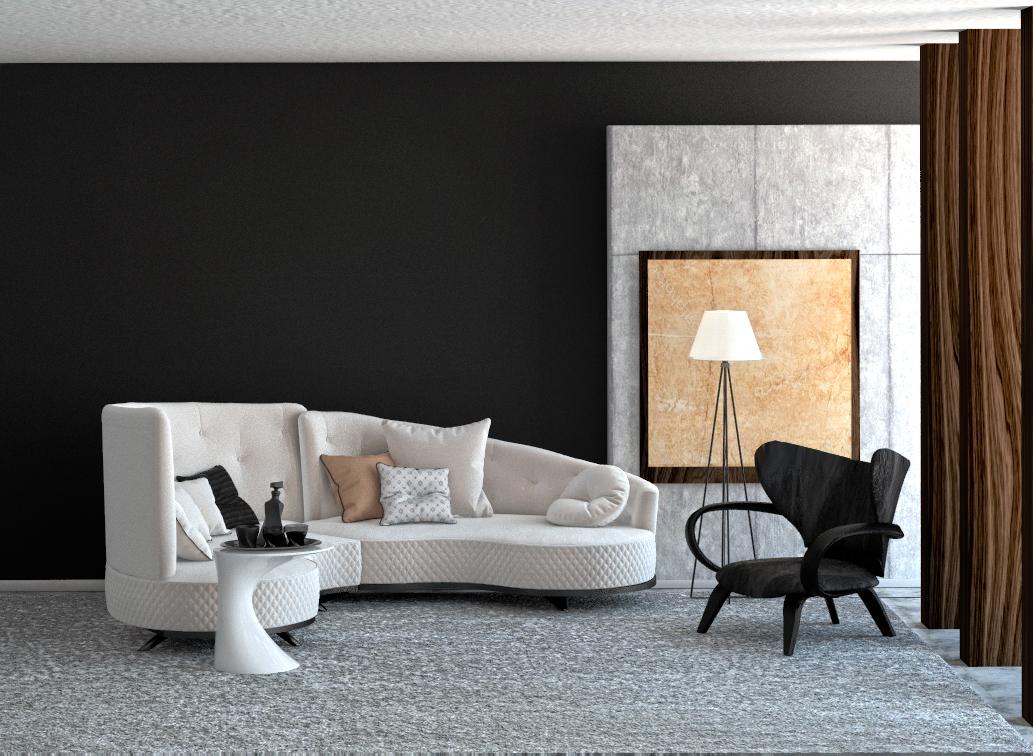 интерьер гостиной с радиусным диваном