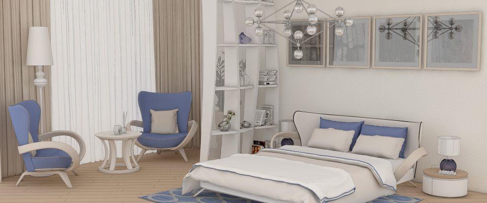 интерьер спальни в синих тонах