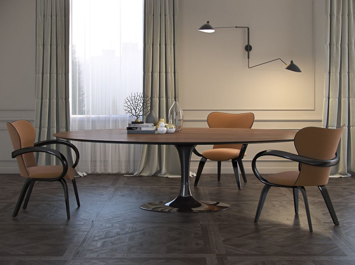 стильный современный интерьер со столом