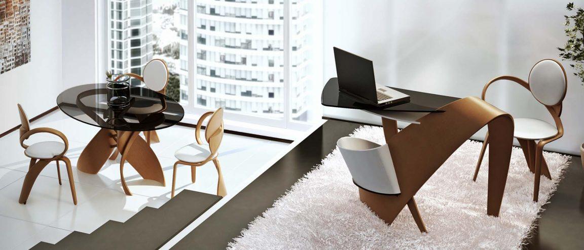 Изумительный овальный стол со стеклом