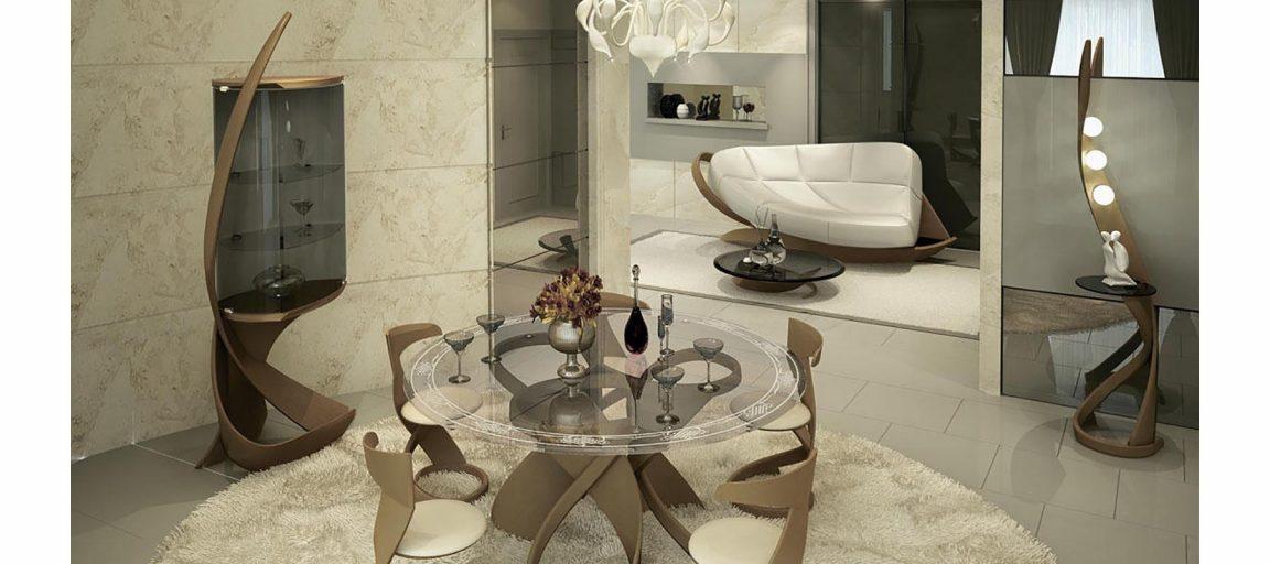Большой прозрачный стол круглый