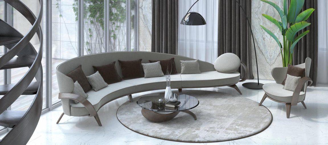 скандинавский интерьер с радиусным диваном и креслом