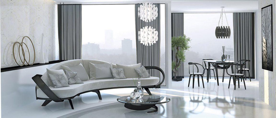 Изогнутые стулья в светлой гостиной