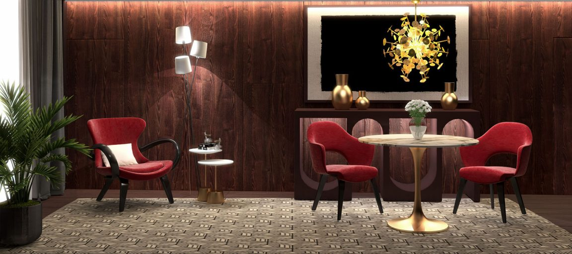 Золотой стол с мрамором в гостиной