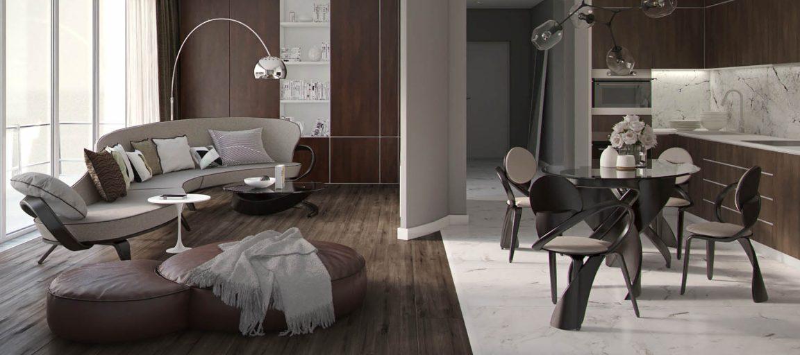 элегантный интерьер с диваном Априори А