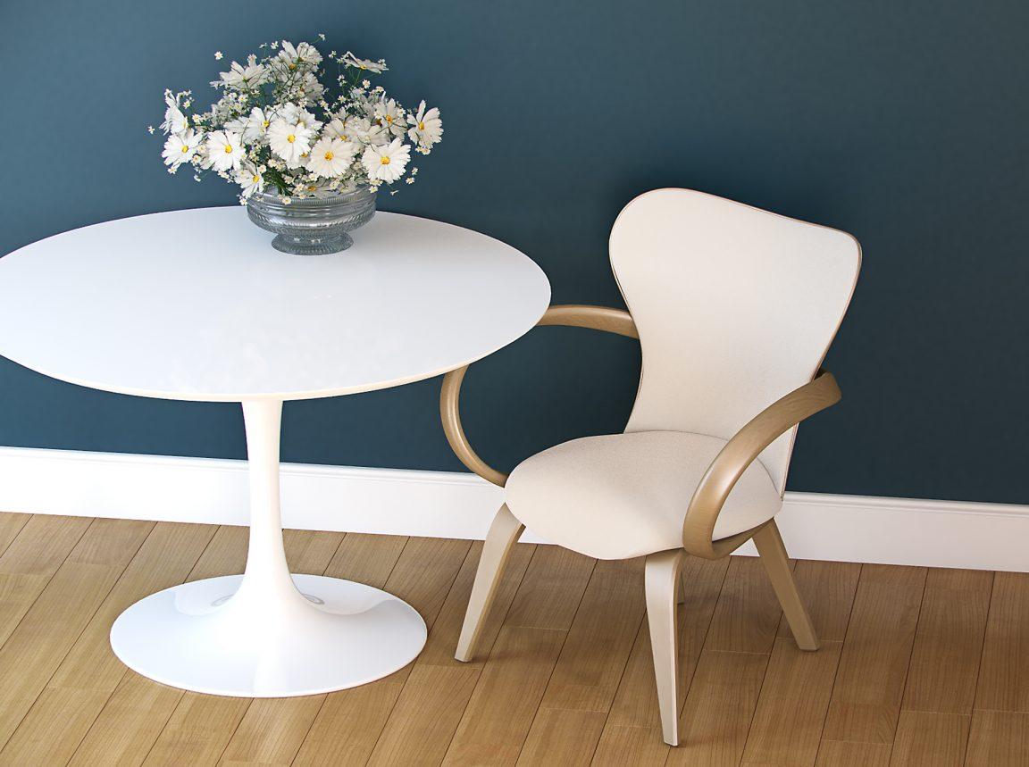 белый круглый стол на одной ножке