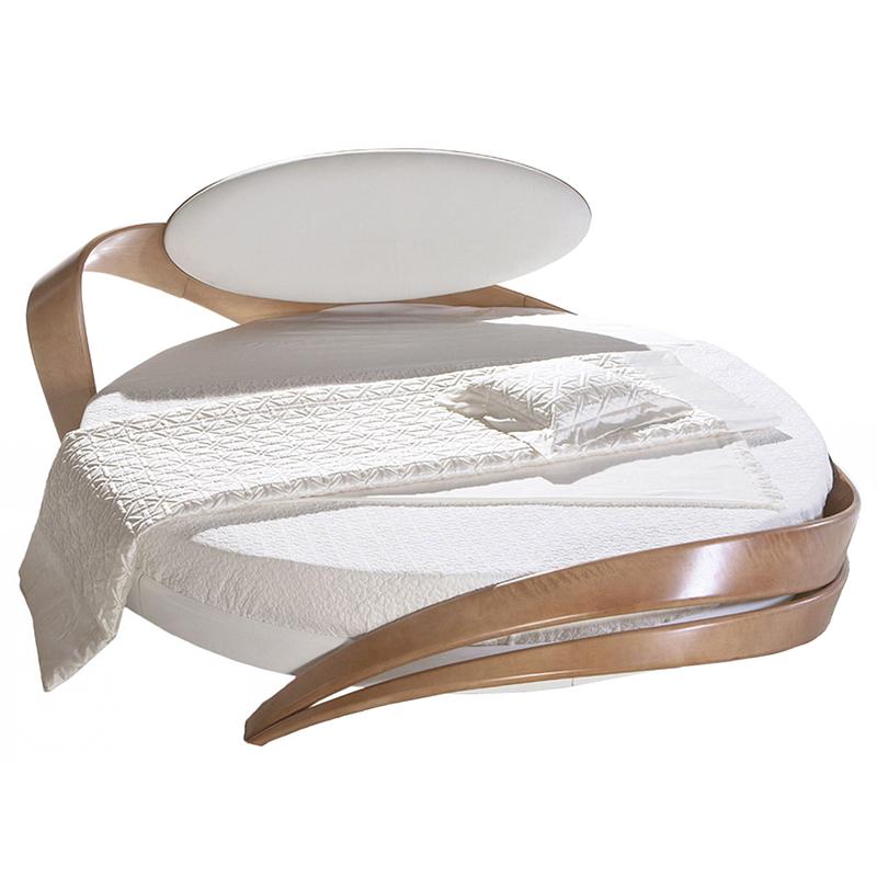 кровать круглая с мягким изголовьем