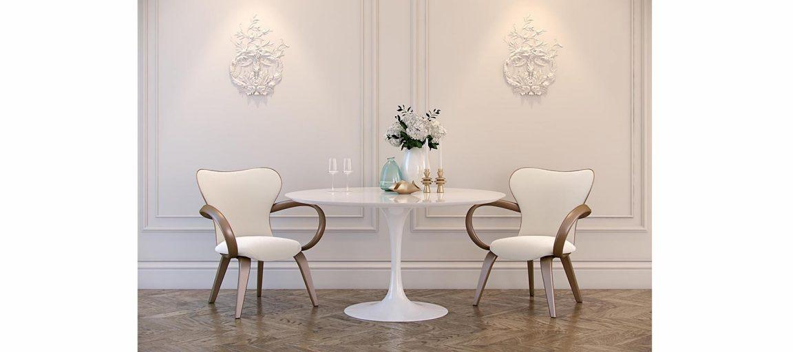 Красивые стулья из массива со столом