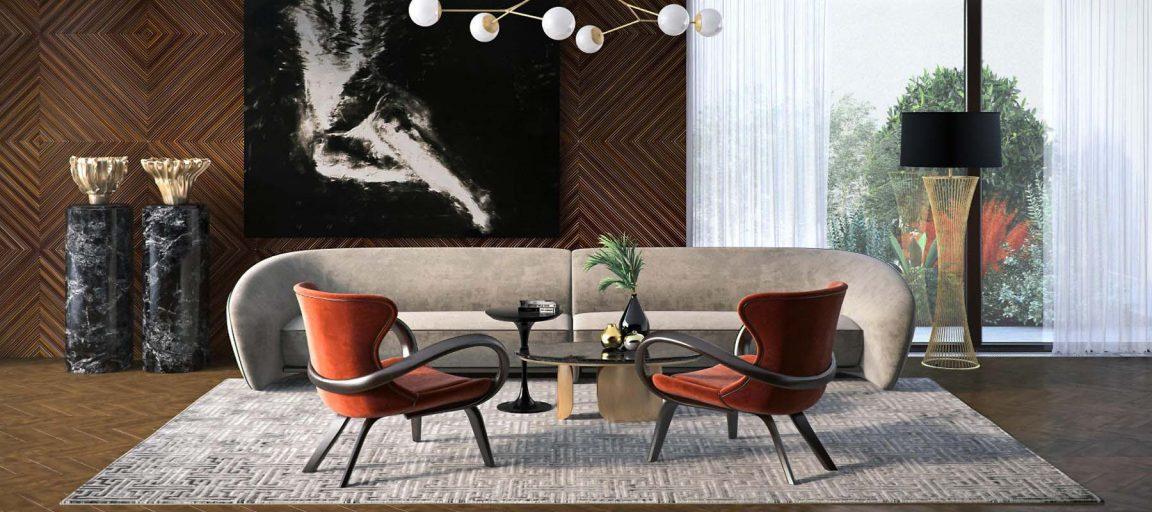 современный интерьер с черным столиком