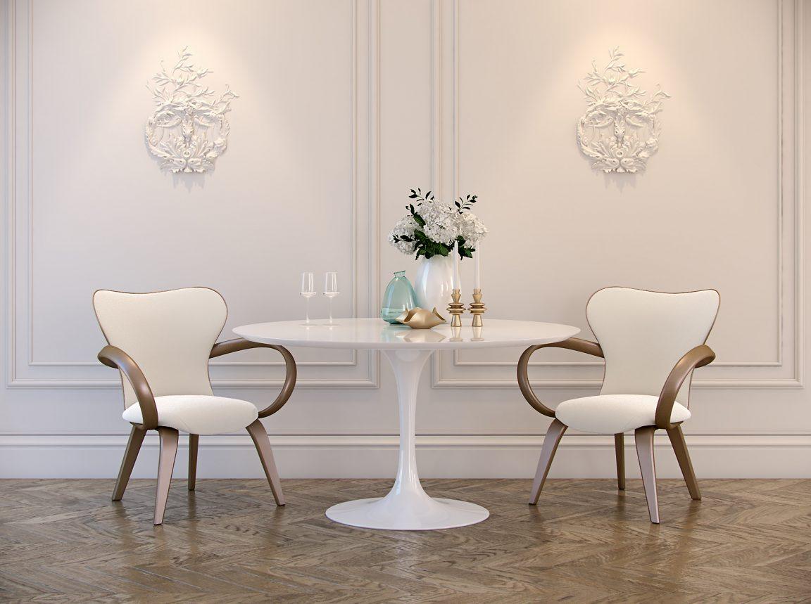 лёгкий изящный белый стол