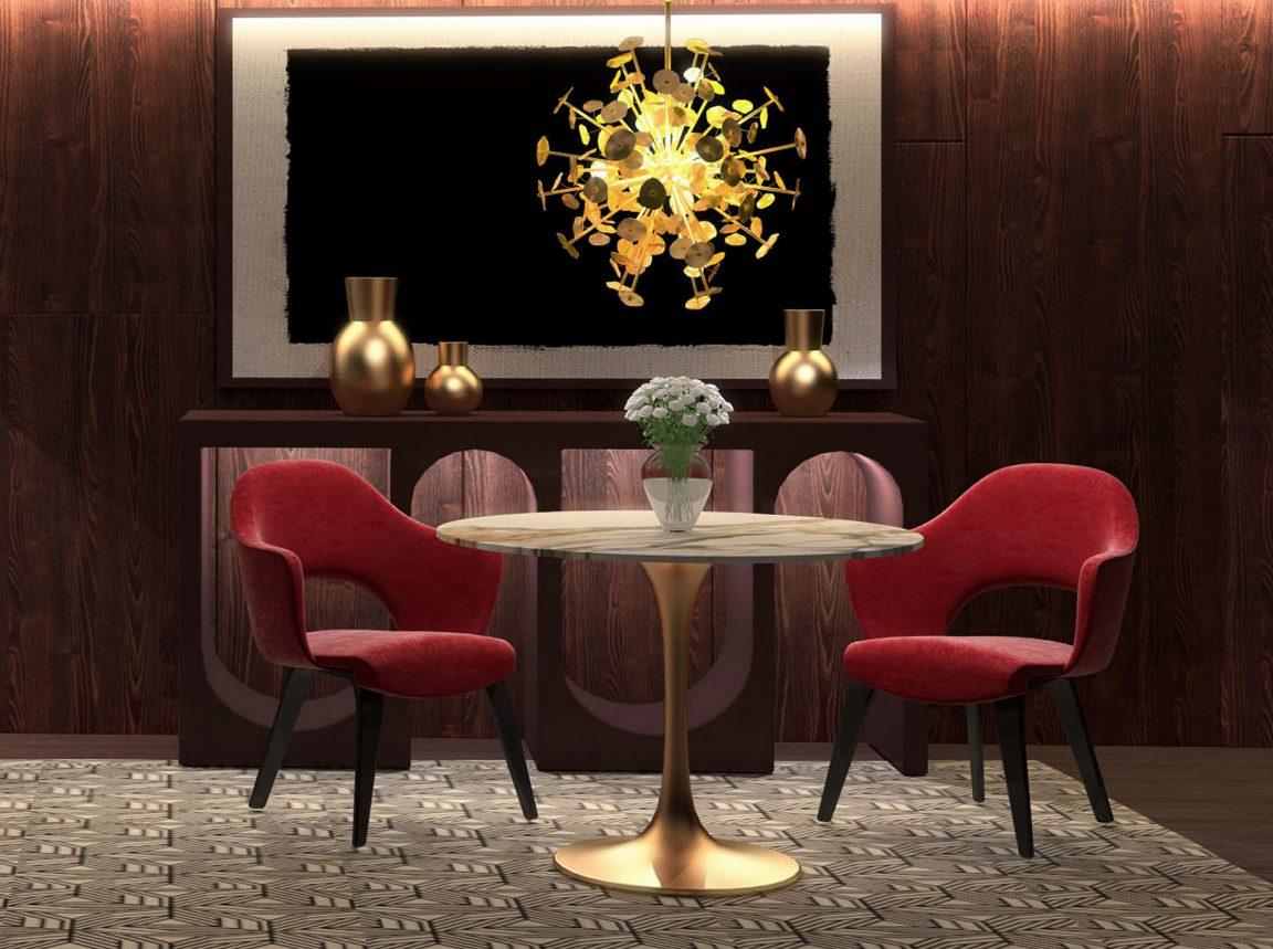 стол круглый из акрила в золотом цвете