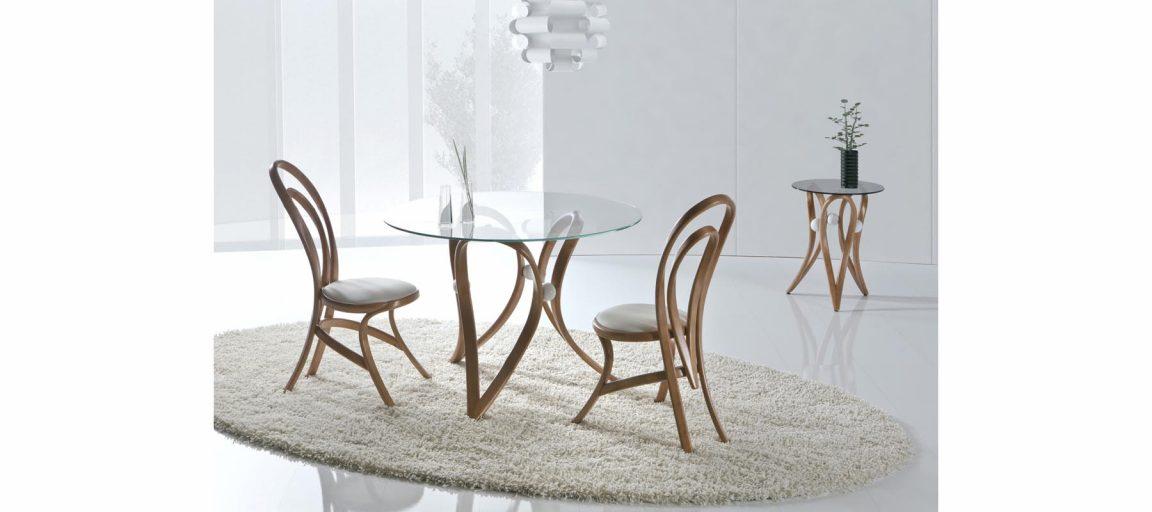 Элегантный круглый стол со стеклом