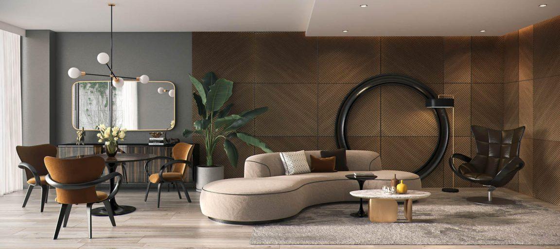 Аккуратный стол с диваном в гостиной