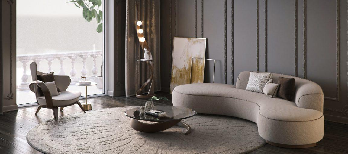 современный интерьер с ассиметричным креслом