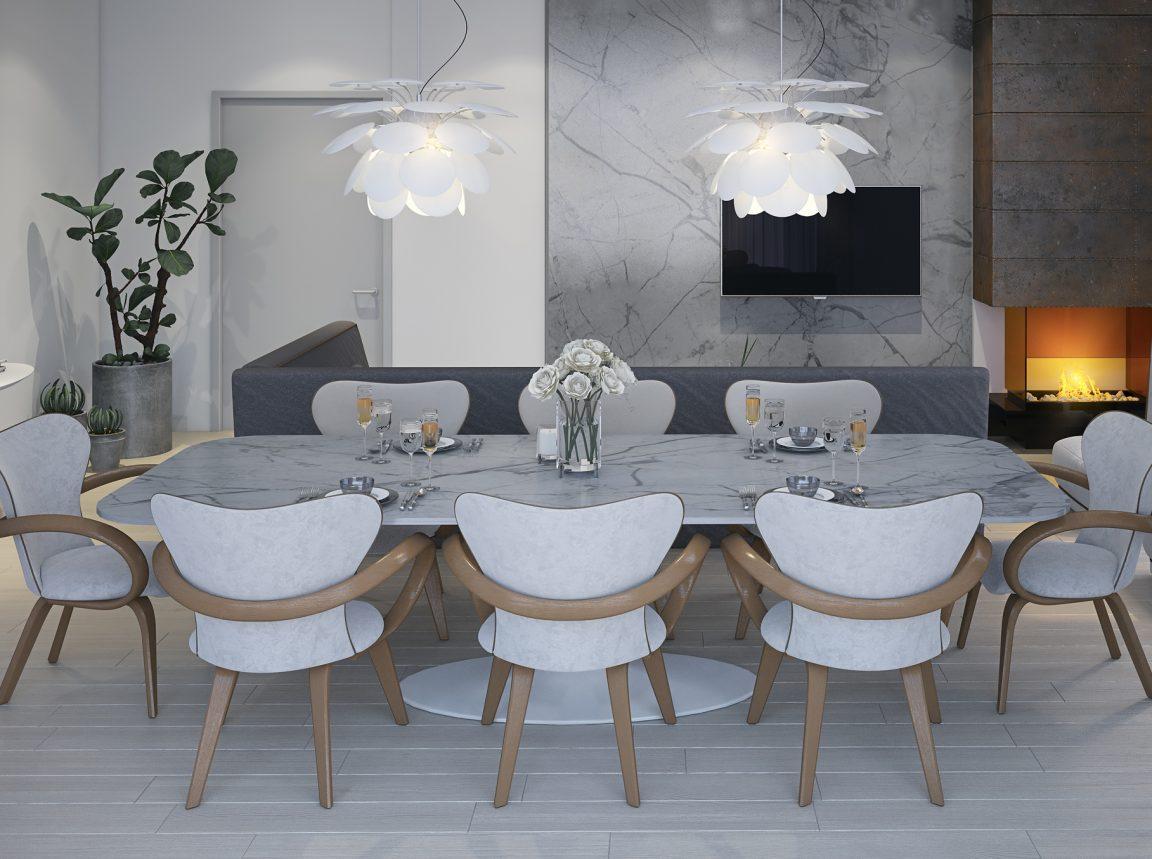 гостиная со столом и деревянными стульями