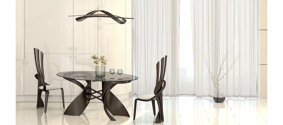Модный стеклянный стол овальный