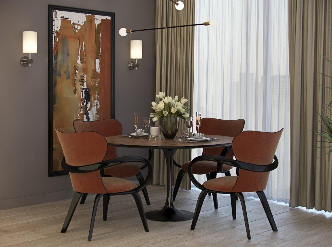 комплект стульев с обеденным столом