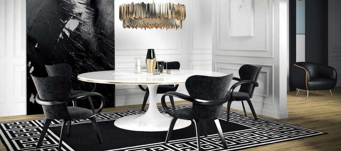 гостиная с белым столом овальным
