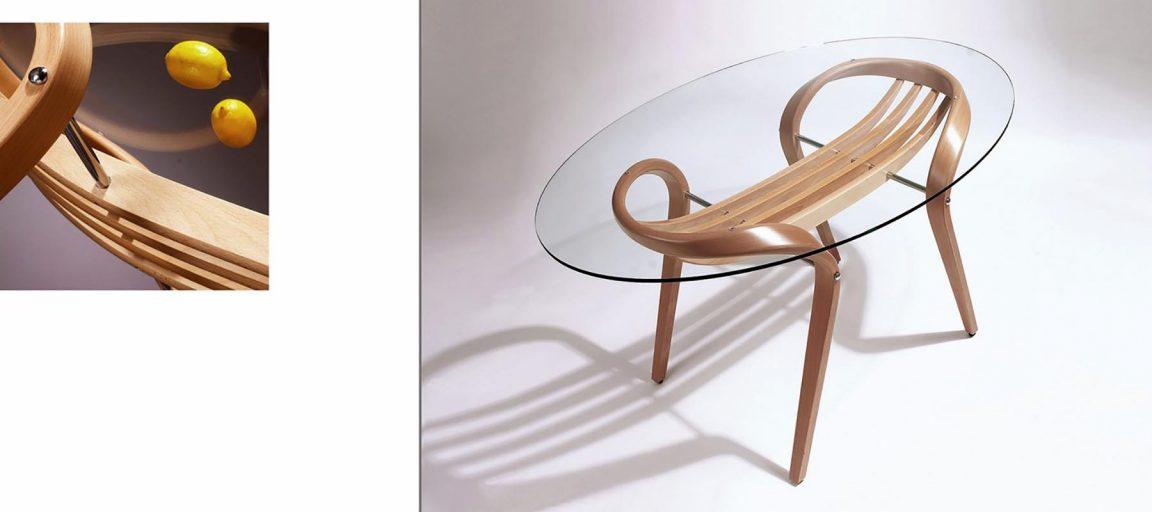 Легкий стеклянный стол овальный