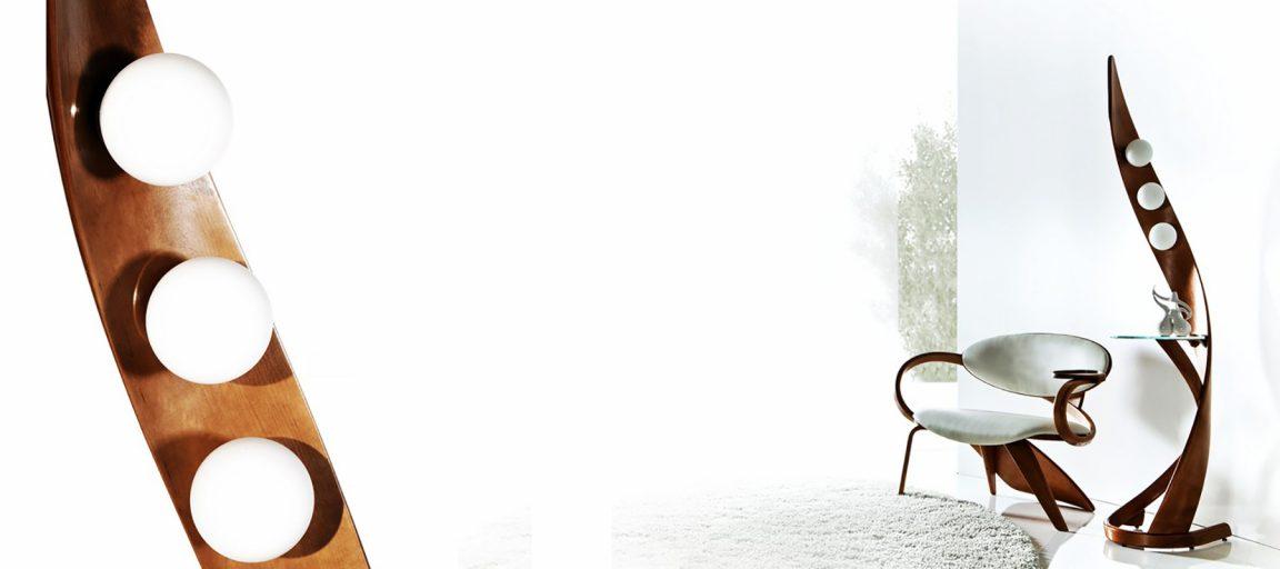 Деревянный торшер для гостиной
