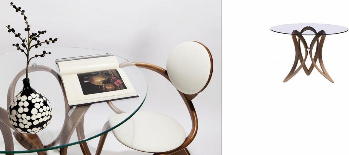 Стол со стулом из гнутого массива