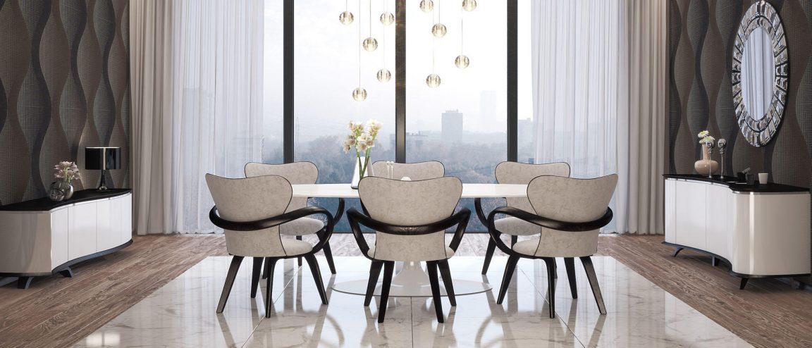 Красивый большой стол белый