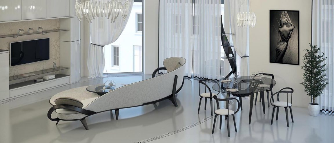 элитный интерьер с большим диваном