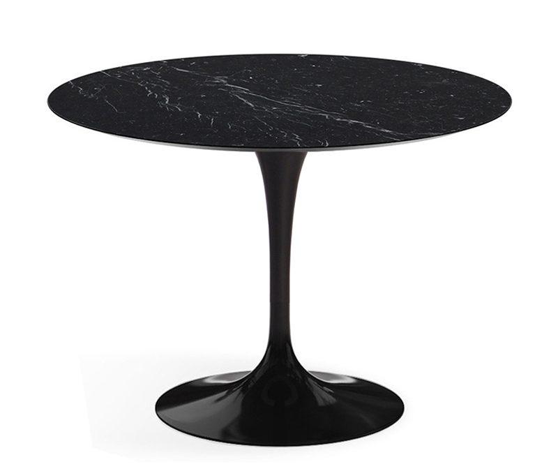 круглый стол со столешницей мрамор черный 800
