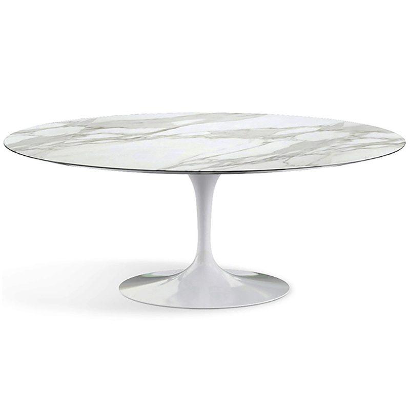 Овальный стол на одной ножке мрамор белый