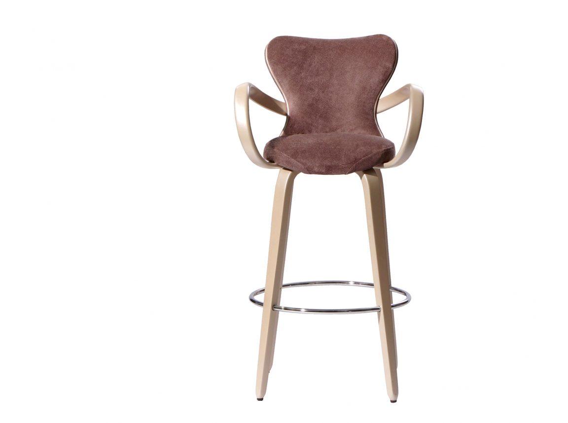 стул барный в коричневой ткани