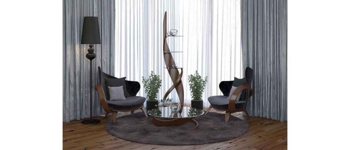 интерьер с креслами и этажеркой