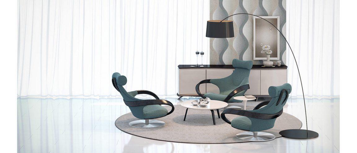 стильный интерьер с креслами из дерева