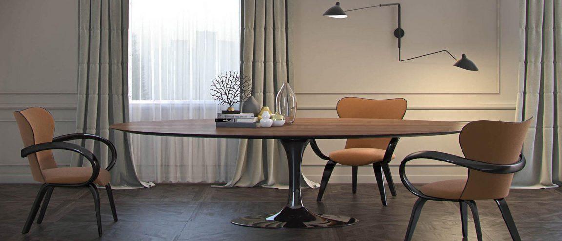 элегантная столовая с большим столом