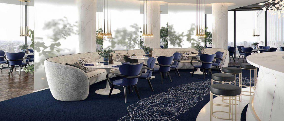Ресторан с круглыми дизайнерскими столами