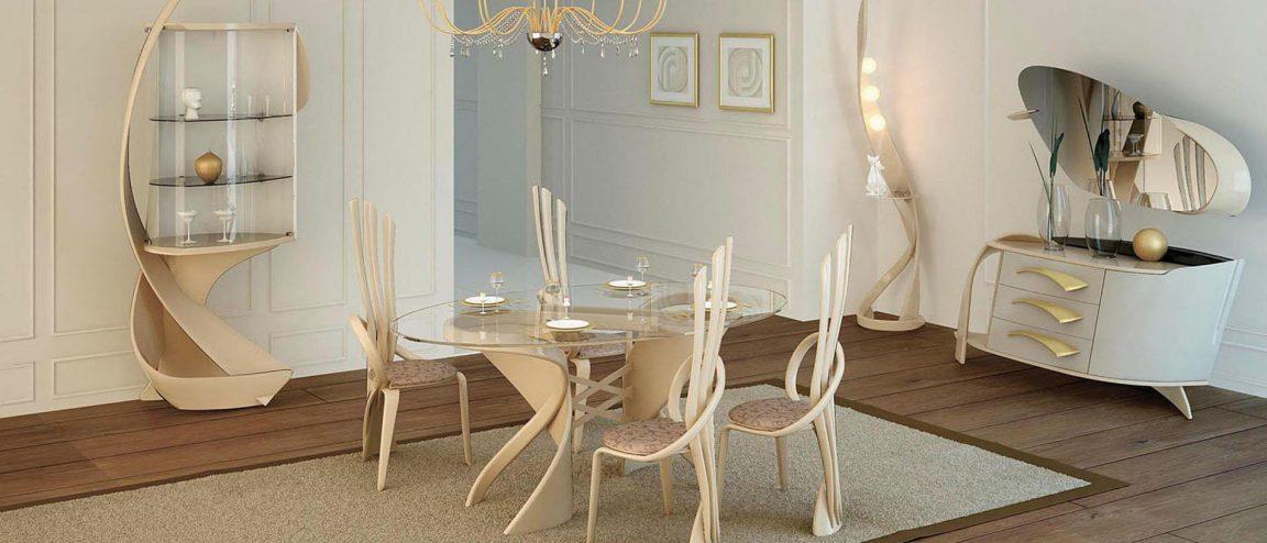 стол со стеклом в классическом интерьере