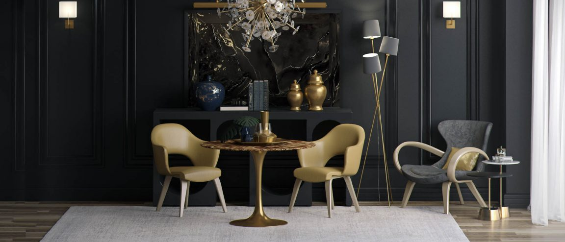 Стильный стол золотой в интерьере