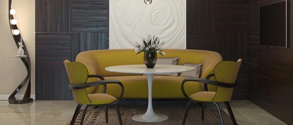 обеденная зона в интерьере гостиной