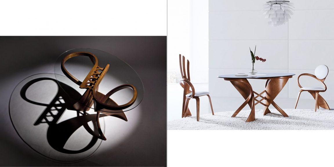 Нестандартные кухонные столы со стульями