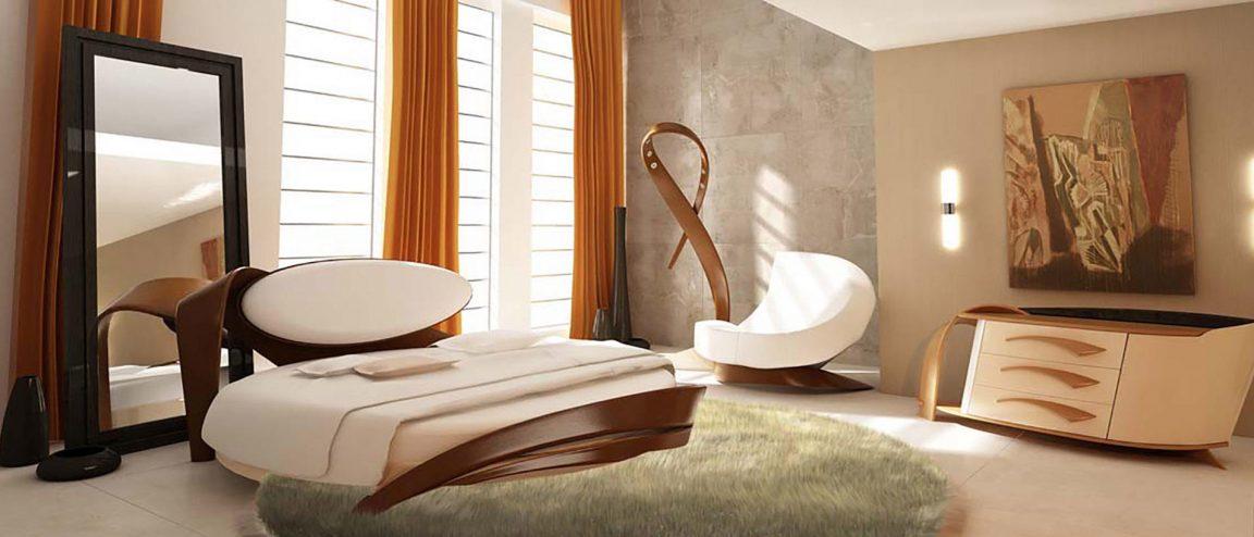 кровать круглая орех в интерьере