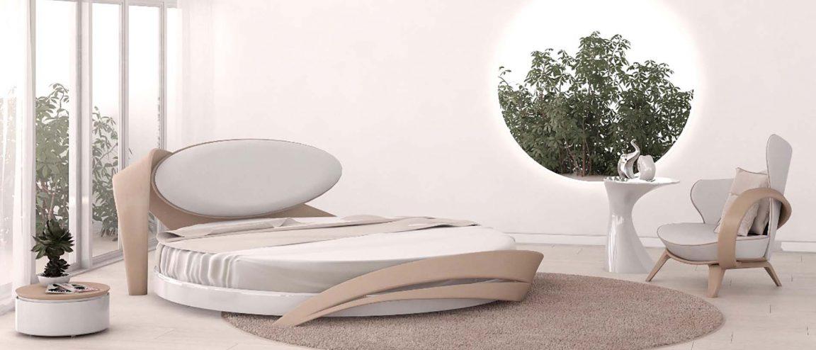 кровать круглая цвет бук в интерьере