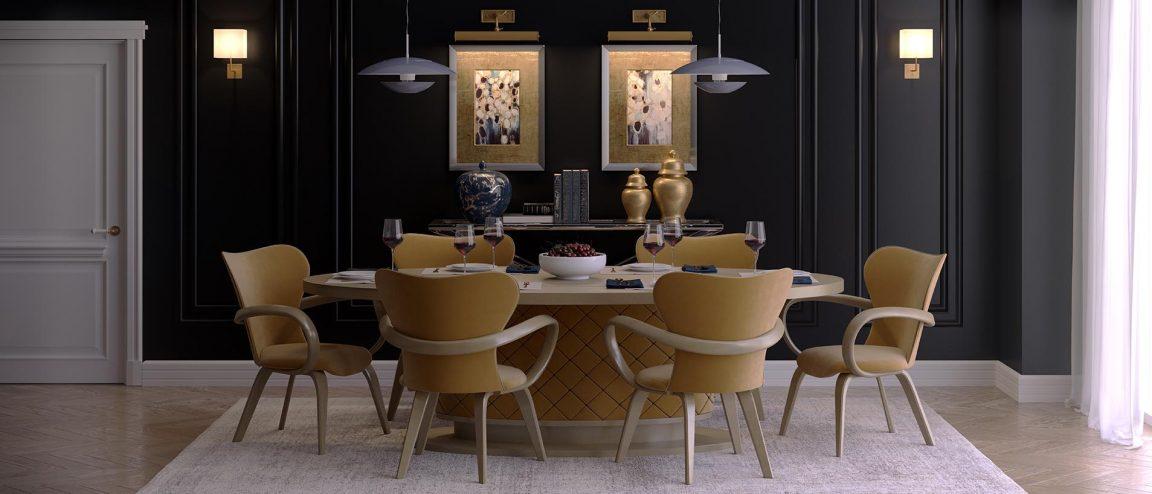 изысканная гостиная с комплектом мебели