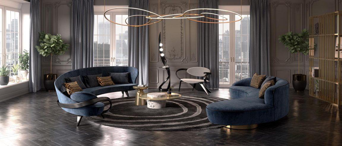 американский интерьер с радиусным диваном