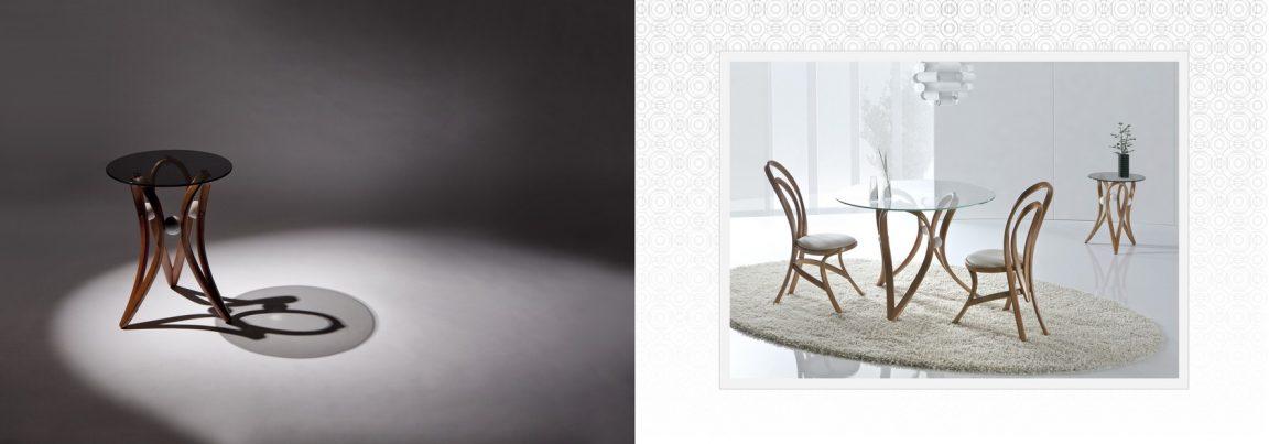 стол в светлом дереве со стульями
