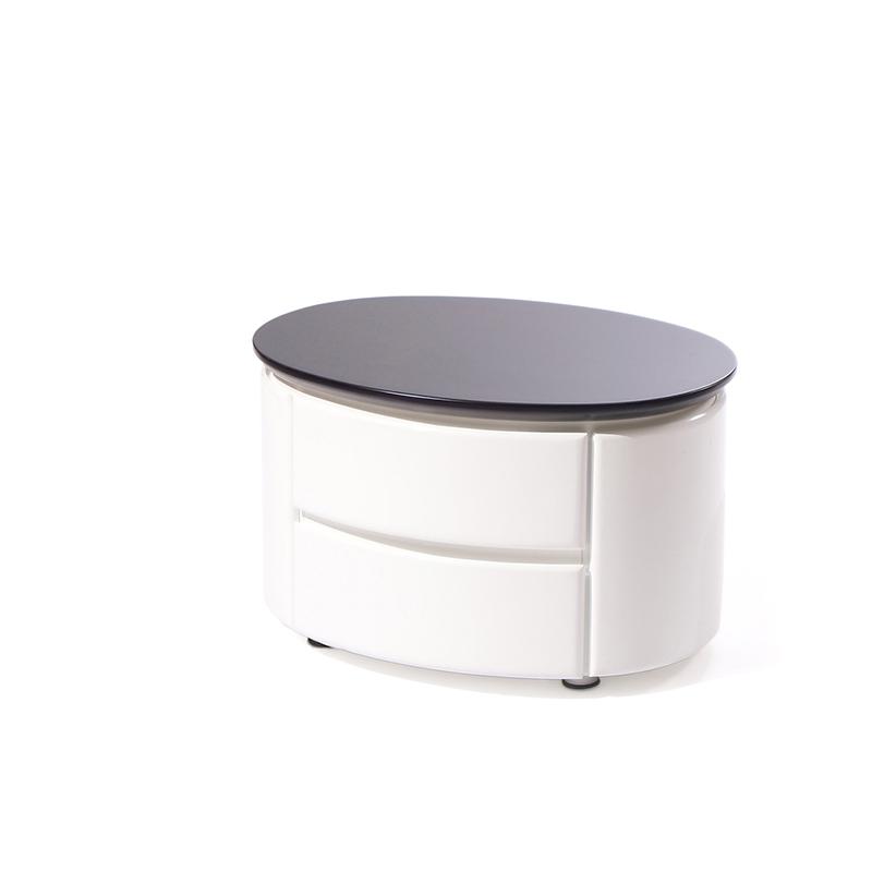 Овальная прикроватная тумбочка с ящиками