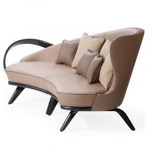Кожаный полукруглый диван большого размера