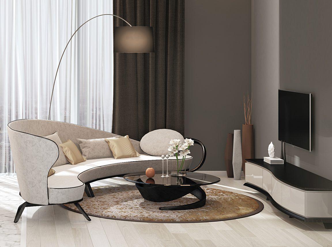 элегантный радиусный диван из массива