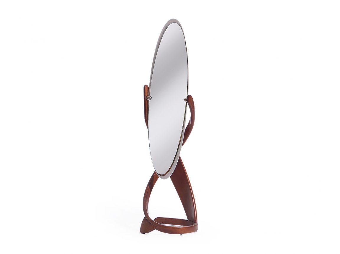 изысканное зеркало на деревянной подставке