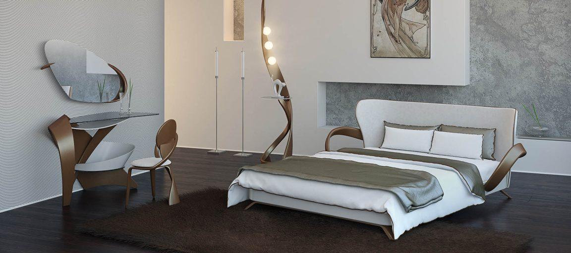 Декоративное зеркало в современной спальне
