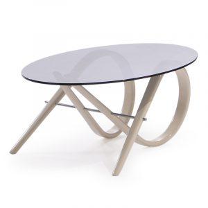 Овальный журнальный столик со стеклом